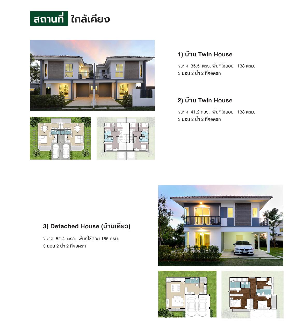 แบบบ้าน โครงการบ้านเดี่ยว บ้านแฝด 2 ชั้น IRIS PARK ชัยพฤกษ์ – วงแหวน